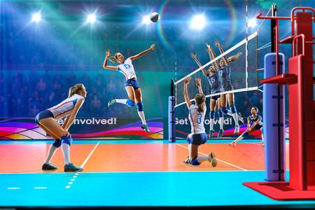 Vrouwelijke professionele volleybalspelers in actie betreffende grote hof