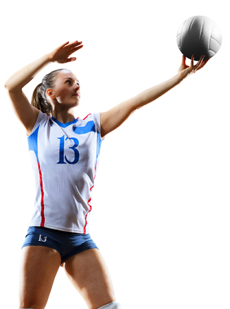 白で隔離女性プロのバレーボール選手