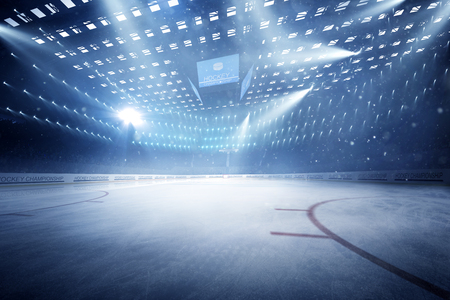 hockey stadium with fans crowd and an empty ice rink sport arena rendering my own design Reklamní fotografie - 94503393