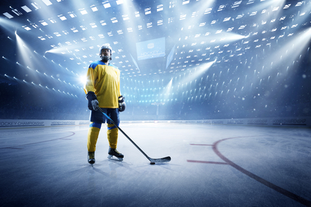 Ice hockey player on the grand ice arena