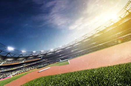Empty baseball stadium 3d render panorama