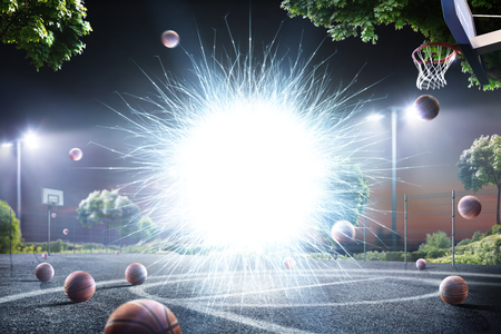 Abstract streetball court background in lights Stock Photo