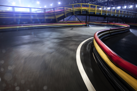 Cart race track finish line in motion background Stock Photo - 95525453