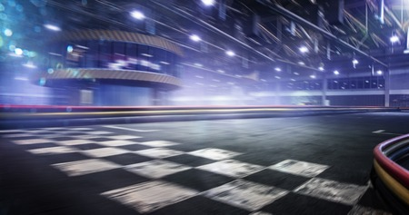 Cart race track finish line in motion background Stockfoto
