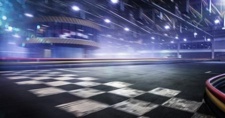 Linia mety toru wyścigowego koszyka w tle ruchu