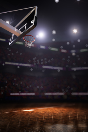 Cancha de baloncesto con fondo de render 3d de ventilador de personas