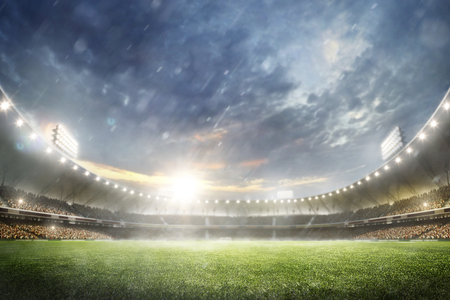 Grand multisport arena background in the rain 3d render Stok Fotoğraf - 95525595