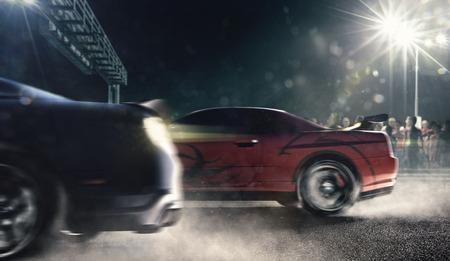 trascinare auto da corsa sulla pista di notte rendering 3d