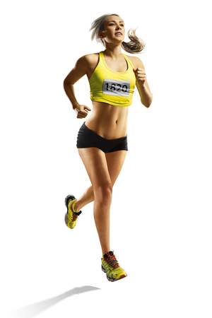 young fitness woman runner isolated at white