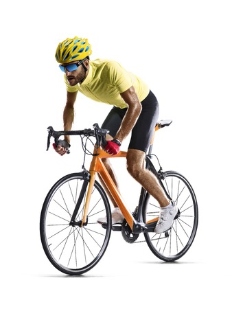 Professional road bicycle racer isolated on white