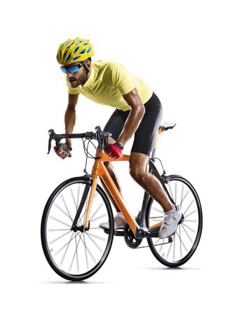 白の動きで孤立した職業道路自転車レーサー 写真素材