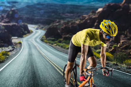 Professional road bicycle racer in action