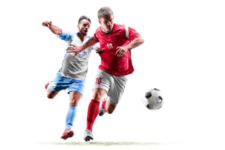 giocatori di calcio caucasici isolati su sfondo bianco