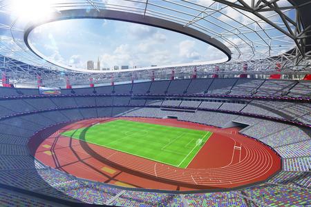 Rendu 3d de fond de grand jour ensoleillé d'arène multisport Banque d'images
