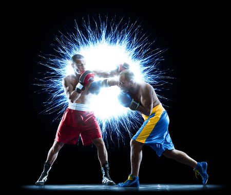 professional boxers are isolated on black background dark 스톡 콘텐츠