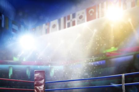 International professional boxing ring in bright lights 3d render Standard-Bild - 120474378