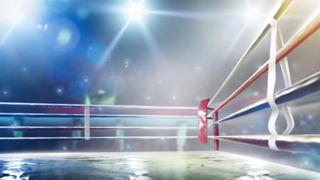 Ring de boxeo profesional internacional en luces brillantes 3D Render Foto de archivo