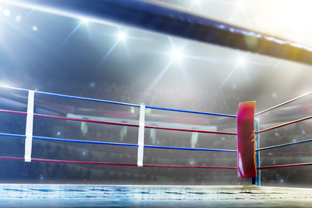 International professional boxing ring in bright lights 3d render