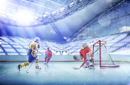 Professional hockey players in action on grand arena Imagens