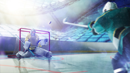 Professional hockey players in action on the grand arena 스톡 콘텐츠