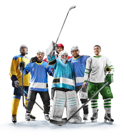 Professional hockey players in action on white backgound Stock Photo