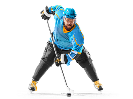 Professional ice hockey player in action on white backgound Stock Photo