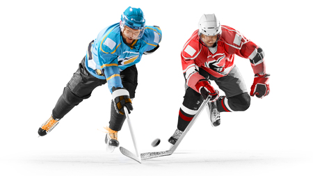 Professional hockey players in action on white backgound Stok Fotoğraf