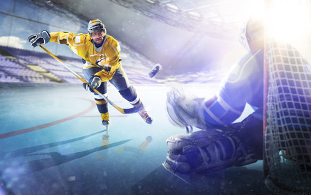 Professional hockey players in action on the grand arena Stock Photo