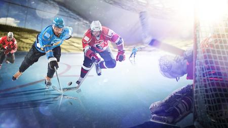 Jugadores de hockey profesionales en acción en la gran arena