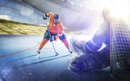 Professional hockey players in action on grand arena Stok Fotoğraf