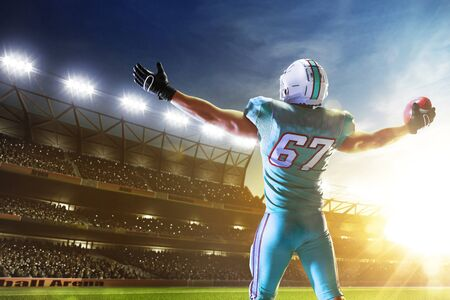 American football. American football player in professional sport arena. Imagens