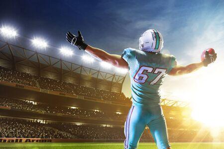 Amerikaans voetbal. American football-speler in professionele sportarena. Stockfoto
