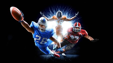 american football players men isolated on black