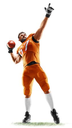 one american football player man studio isolated on white background 스톡 콘텐츠