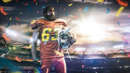 American football sportsman player on stadium in action 스톡 콘텐츠