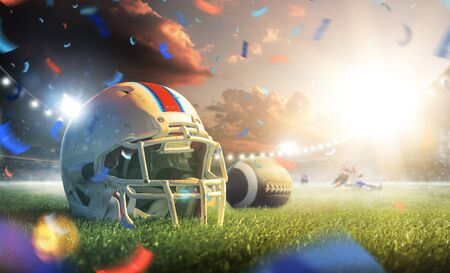 American football helmet close up on the grand arena