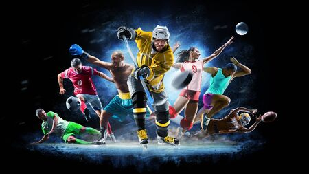 Multi sport collage football boxing soccer voleyball ice hockey on black background Stock fotó