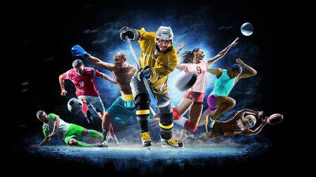 Multi Sport Collage Fußball Boxen Fußball Volleyball Eishockey auf schwarzem Hintergrund