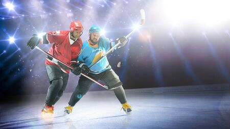 Professional hockey players in action on grand arena Banco de Imagens
