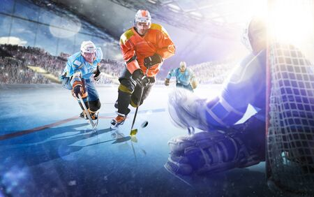 Professional hockey players in action