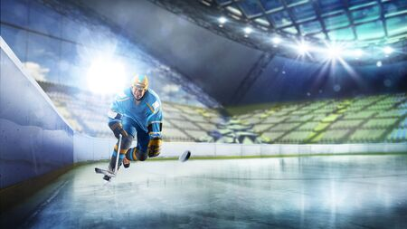 Professional hockey player in action on grand arena