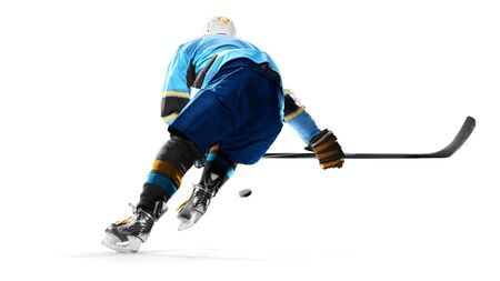 ice hockey player isolated on the black background