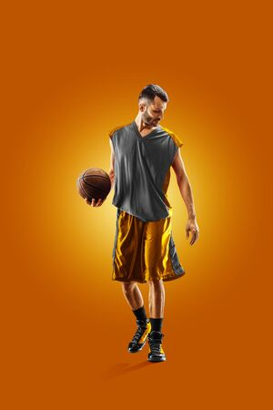 bright professional basketball player on an orange background