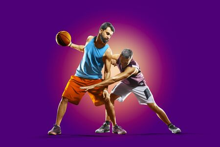 colourful professional basketball players isolated over purple background