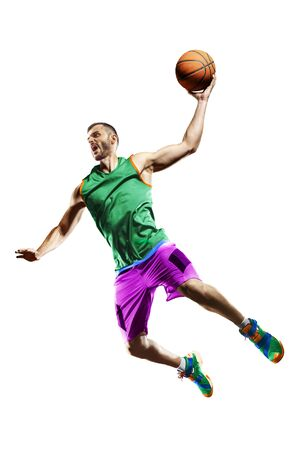 Professional basketball player isolated on white background