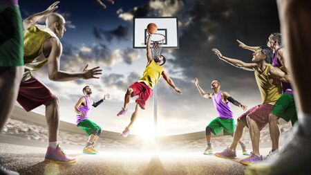 day light professional basketball players in the action