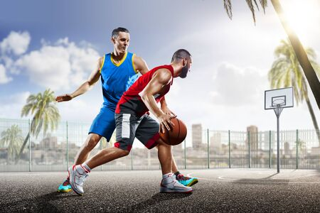 professional basketball players in action