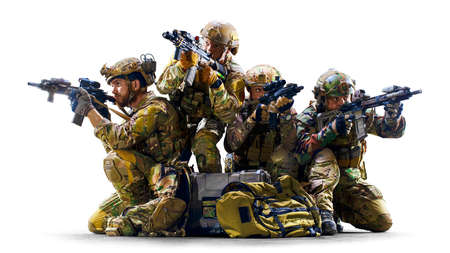 Groupof army soldiers in Protective Combat Uniform holding Special Operations Forces Combat Assault Rifle isolated on white background Banco de Imagens