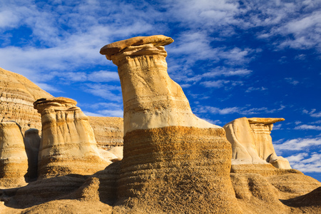 geological formation: Hoodoos, a geologic formation on a bright day in the badlands near Drumheller, Alberta, Canada