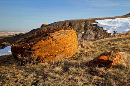 Red Rock Coulee in Southern Alberta, Canada Stock Photo